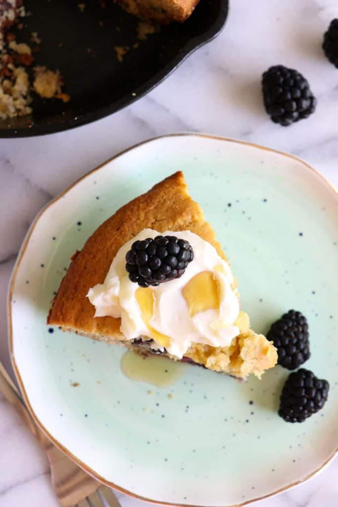Blackberry Cornbread!  Enjoy the burst of fresh fruit in this ultra moist and buttery cornbread.