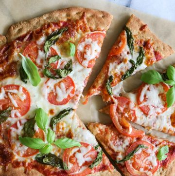 Whole Wheat Pizza Dough.  Crispy, chewy whole wheat pizza dough.  Perfect for loading up with all your favorite toppings!