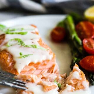 Baked Salmon with Parmesan Cream Sauce