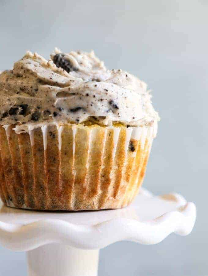 These Cookies n Cream Cupcakes are loaded with not just chunks of oreo, but an entire oreo on the bottom. All topped off with a beyond creamy cookies n cream frosting.