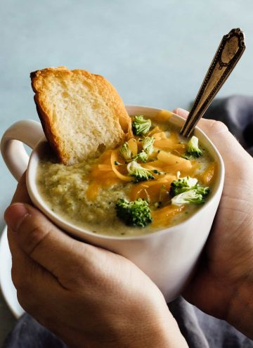 A lighter version of Thick and Creamy Broccoli Cheese Soup! A secret ingredient makes this soup secretly lighter, healthier and epically creamy!