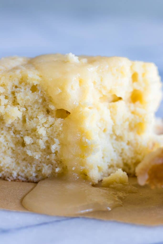 Butter Rum Sheet Cake. This light and fluffy homemade yellow cake has rum baked in and is drenched in a butter rum sauce. Even though this cake is sized down it still has full sized flavor!