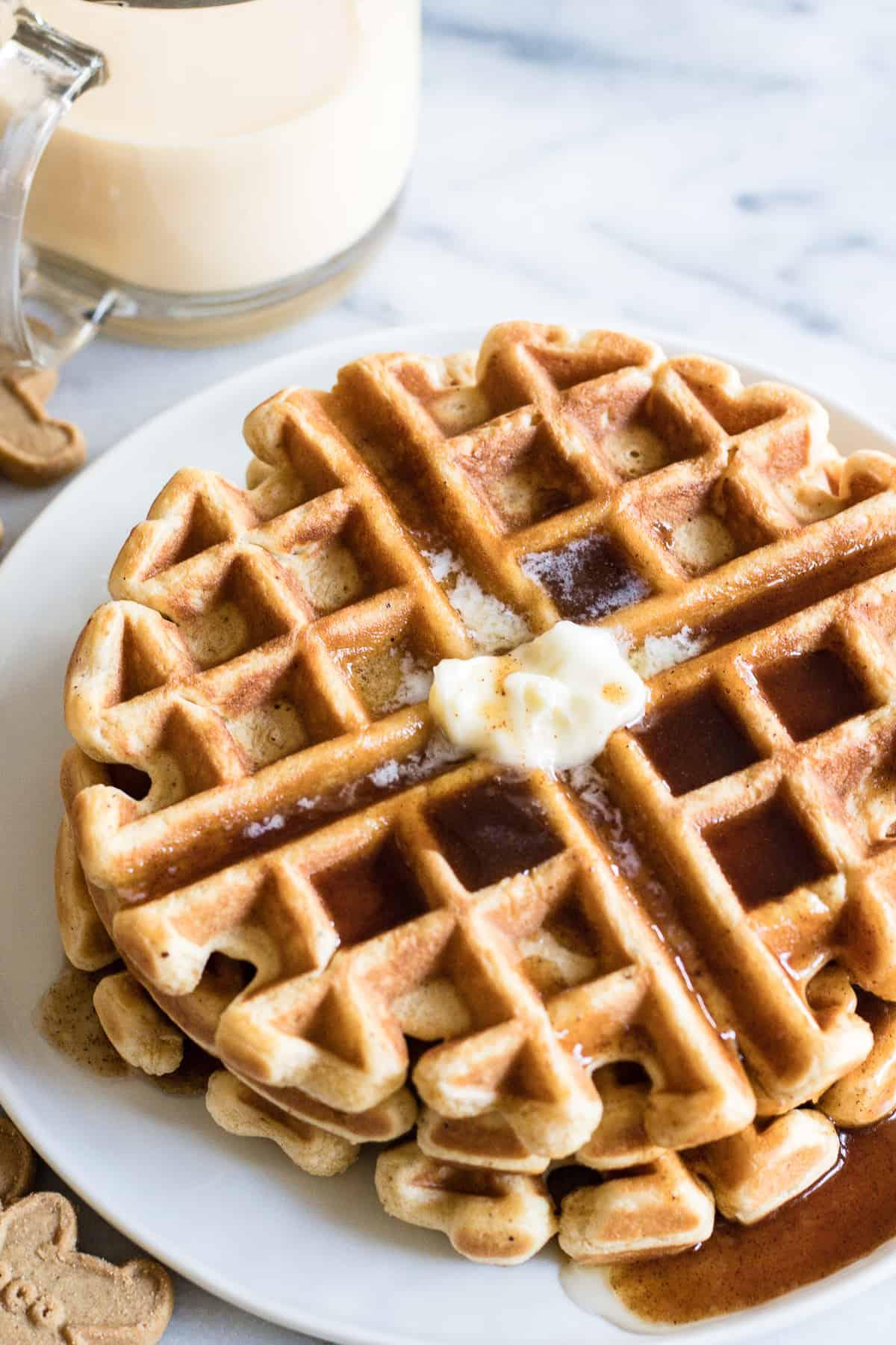 Eggnog Waffles With Cinnamon Syrup