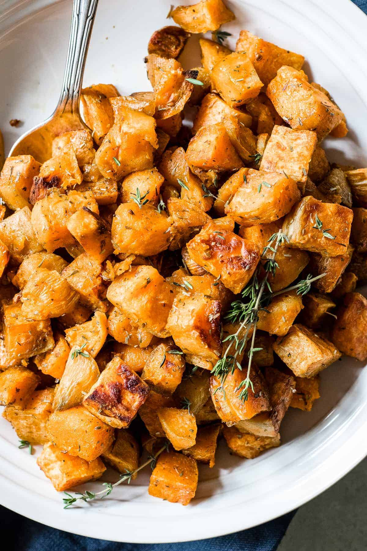 Tender, caramelized Herb Roasted Sweet Potatoes made with olive oil, sea salt and a special blend of herbs. This side dish will be the star of Thanksgiving!