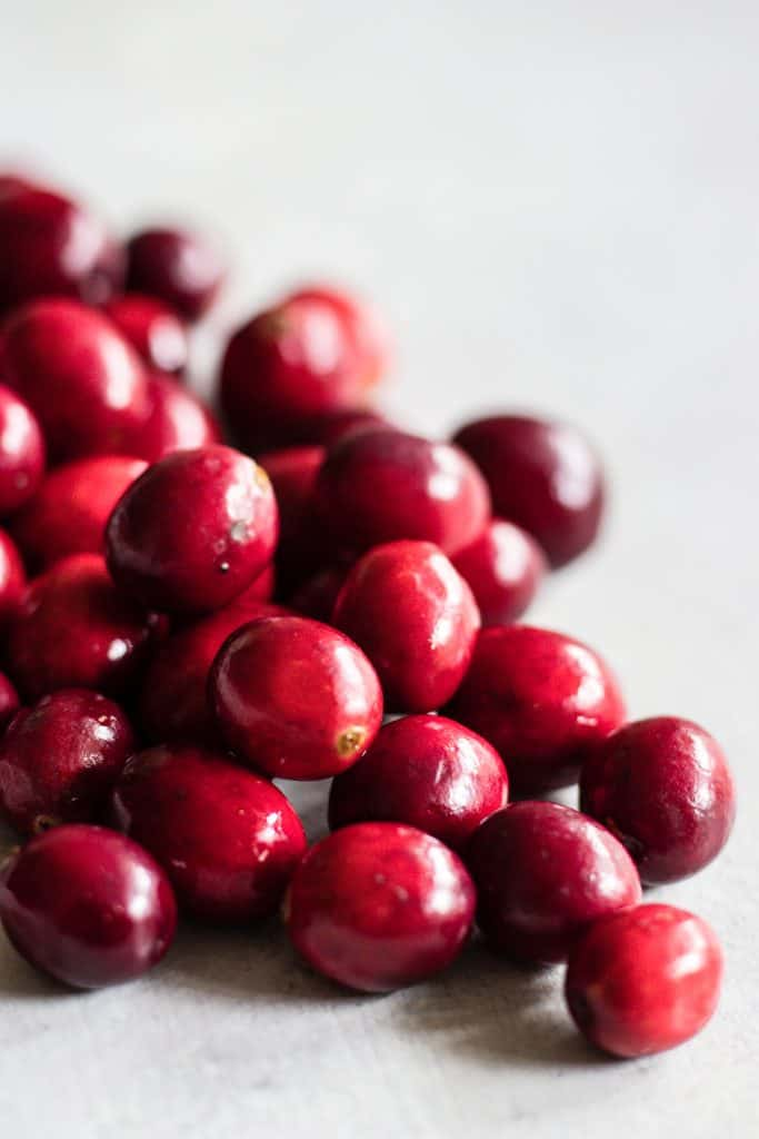 Sweet and tart fresh cranberries for homemade cranberry sauce.