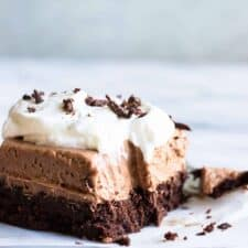 French Silk Brownies. A homemade fudgy brownie topped with a smooth and creamy French Silk topping. The ultimate in chocolate desserts.