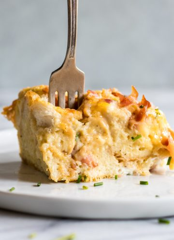 Overnight Bacon and Cheese Strata. This prep ahead breakfast is loaded with eggs, bacon and cheese.