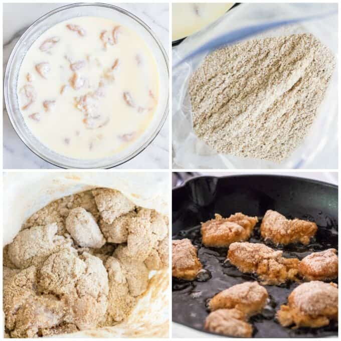 step by step how to make chick fil a chicken nuggets. Showing: soaking the chicken, making the breading mixture, coating the chicken, and frying in oil.