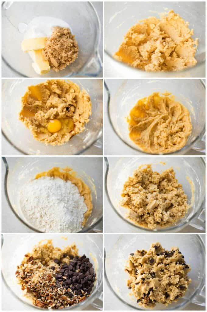 Step by step how to make thick cookies.