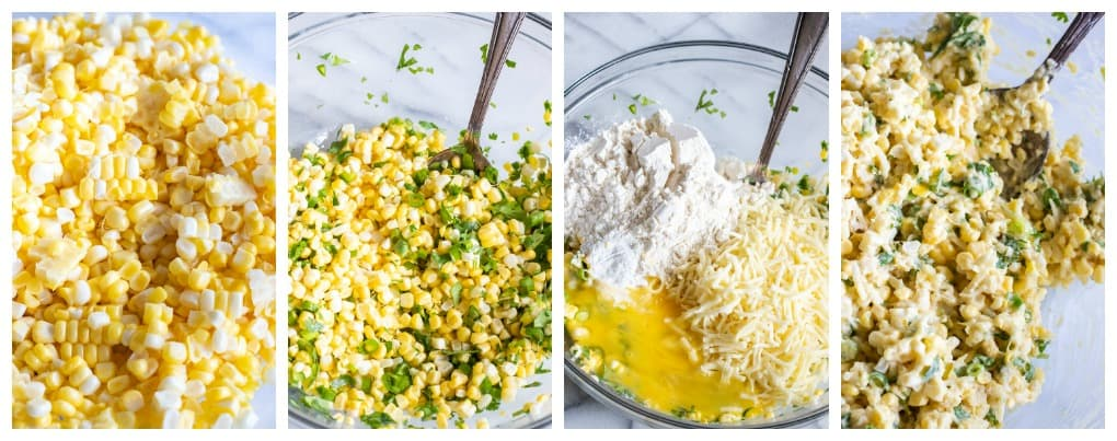 Step by step photos showing how to make cheesy corn fritters, with corn in a bowl, herbs and veggies added, then flour, egg, milk and cheese.