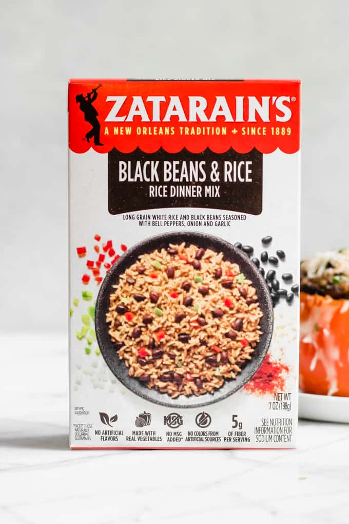 A box of Zatarain's Black Beans and Rice Rice Dinner Mix.