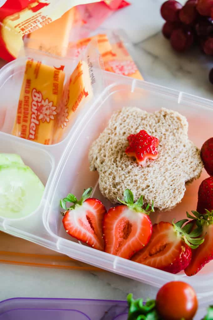 Kid school lunchbox ideas with a flower shaped peanut butter and jelly sandwich with cut strawberries, cheese snack bars, and sliced cucumbers.