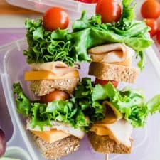 Sandwich kabobs showing whole wheat bread, cheese, turkey, lettuce, and tomato.