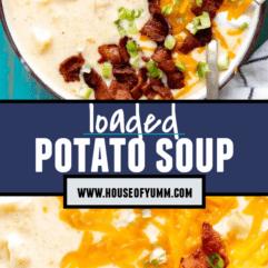 Pinterest collage of potato soup.