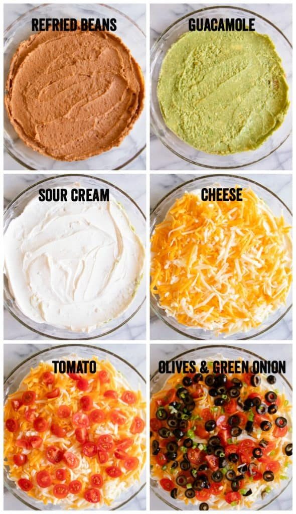 Step by step layering of a seven layer dip.