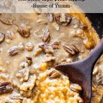 Wooden spoon serving up slow cooker sweet potato casserole.