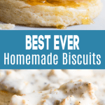 Biscuits being drizzled with honey and topped with sausage gravy.