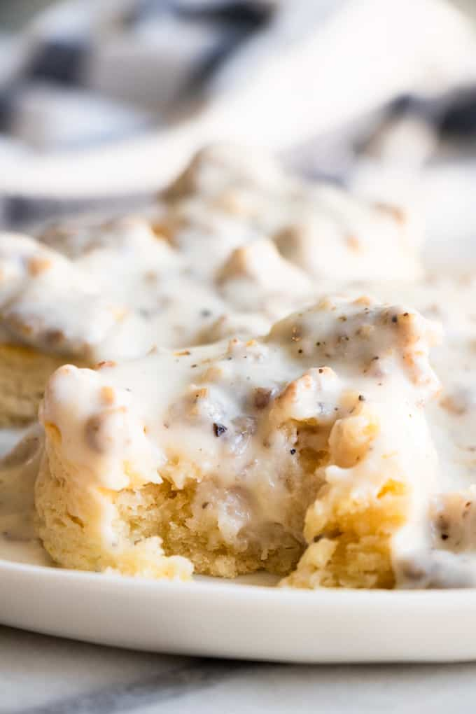 Biscuit smothered in homemade sausage gravy.