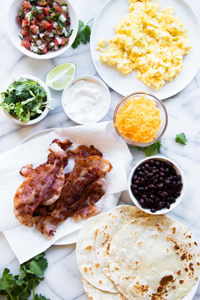 Ingredients all laid out to make southwest breakfast tacos.
