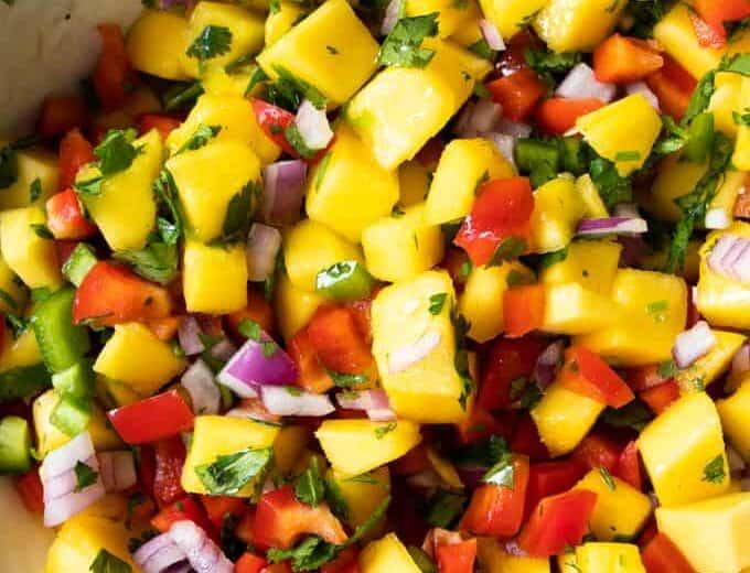 Bowl of freshly Made mango salsa.