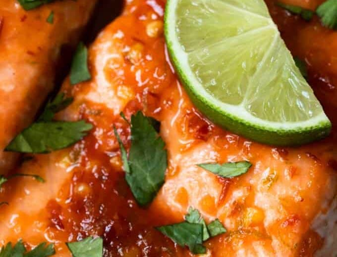 Close up of Chile lime salmon.