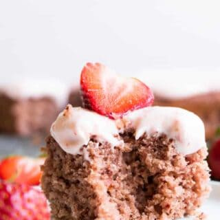 Slice of homemade fresh strawberry cake.