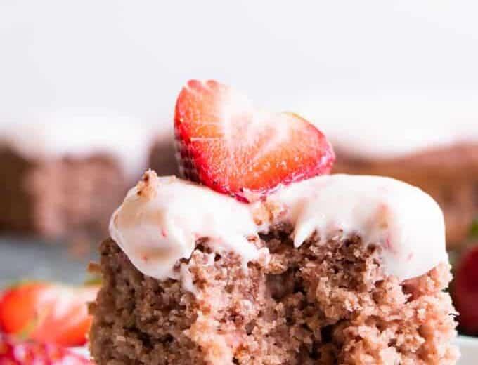 Slice of homemade fresh strawberry cake.