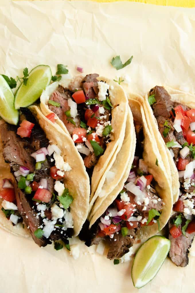 Tex Mex street tacos topped with Cotija, pico de Gallo and cilantro.