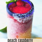 Peach Raspberry Margaritas served with a mint garnish.