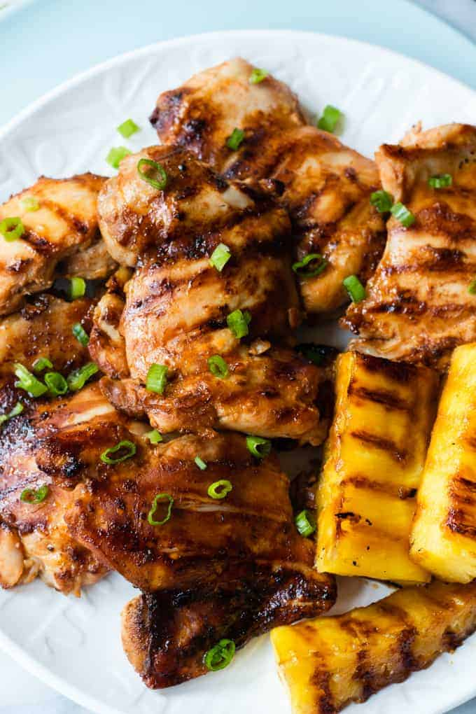 Grilled Huli Huli Chicken and Grilled Pineapple.