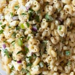 Close up of homemade classic macaroni salad.