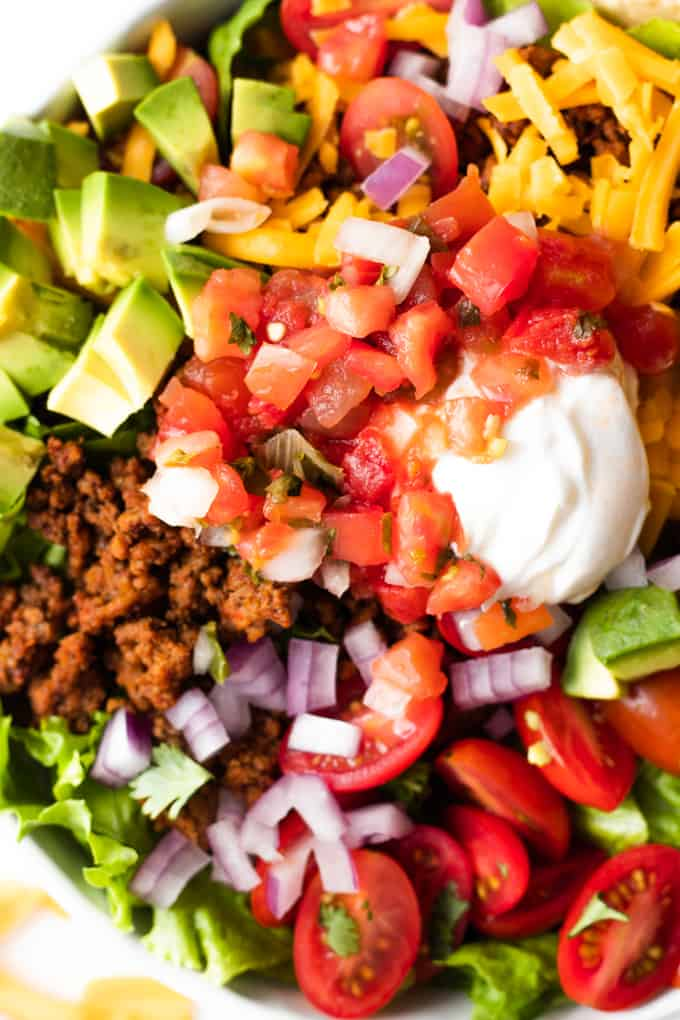 A bowl filled with classic taco salad.