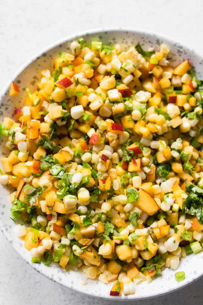 Fresh homemade peach salsa.