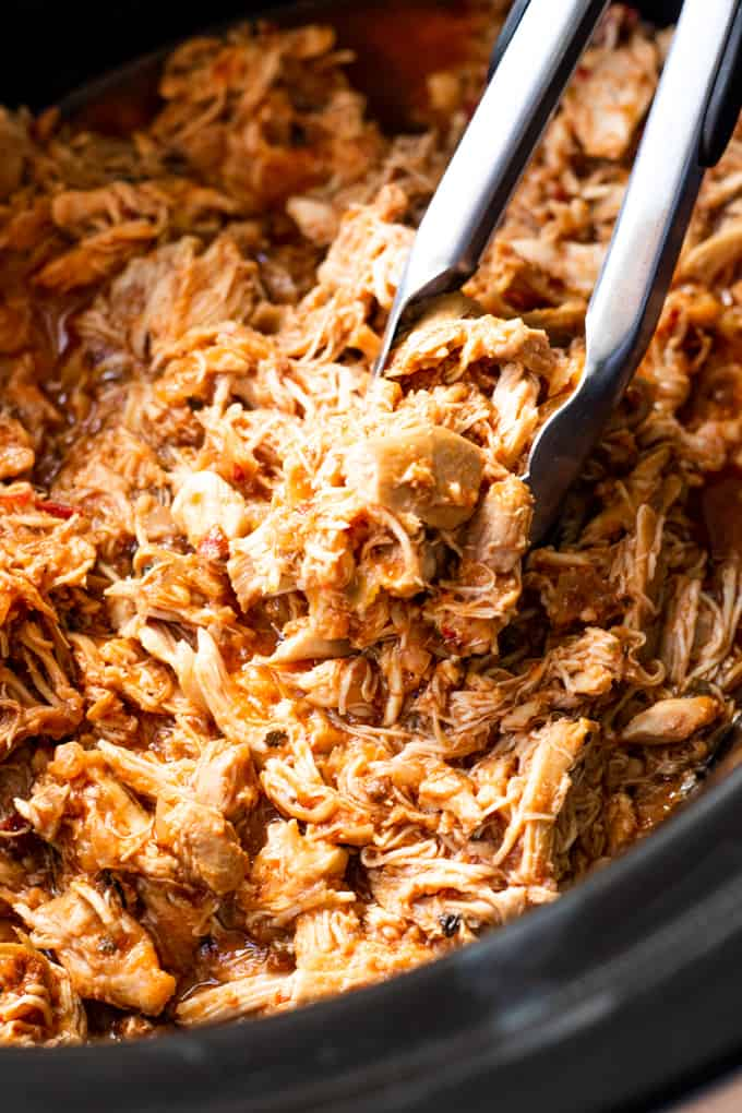 Pot filled with shredded Chicken Tinga.