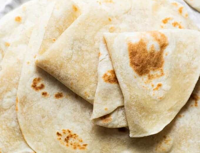 Stack of homemade easy to make tortillas.
