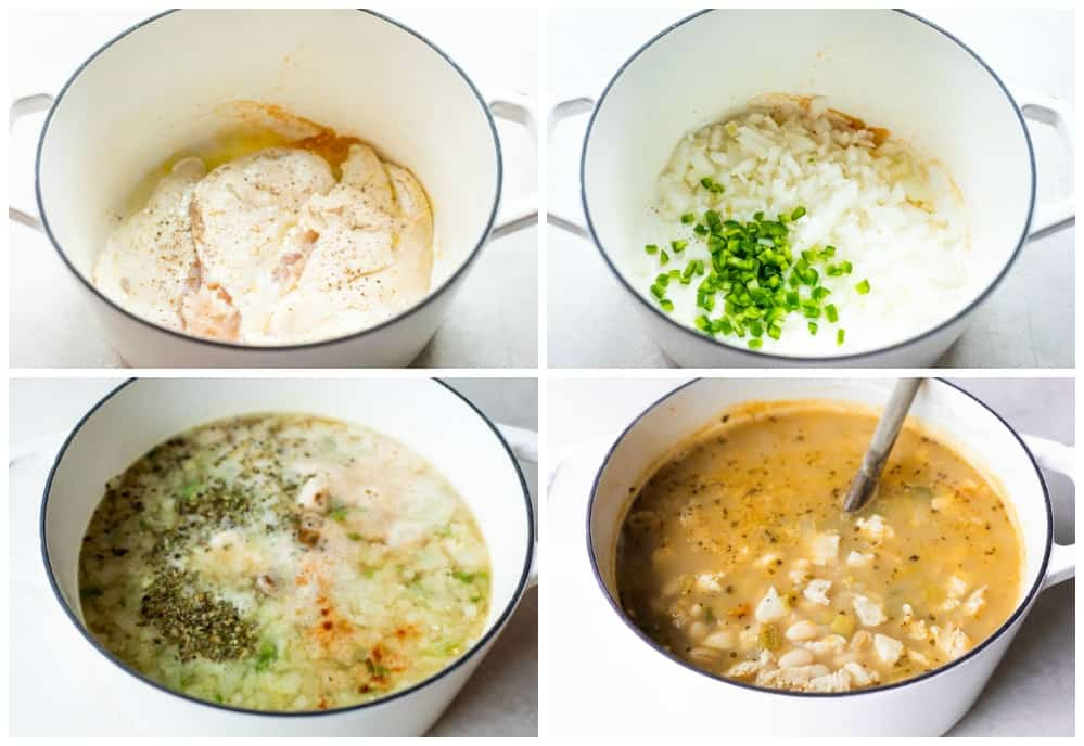 Step by step photos showing how to make white chicken chili.