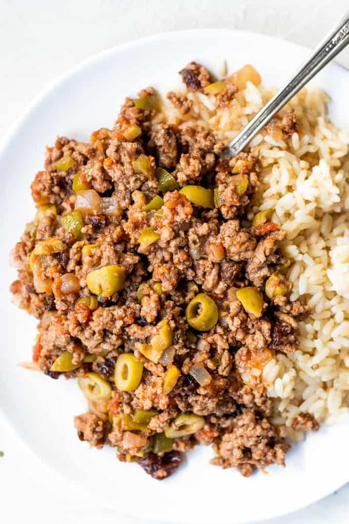 Picadillo on a white plate.