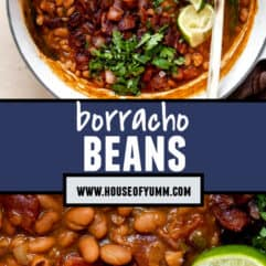 Tall collage image showing cooked borracho beans topped with cilantro and lime.