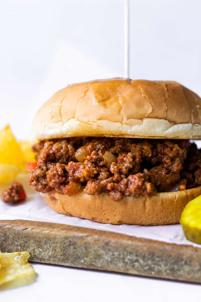 Close up of homemade sloppy Joe meat on a bun.