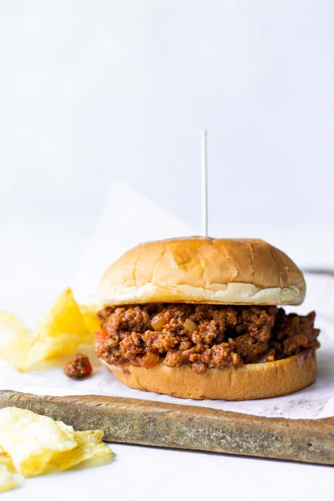Homemade sloppy joes served with potato chips.