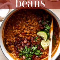 Dutch oven filled with cooked borracho beans.