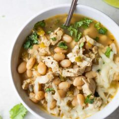 Bowl filled with white chicken chili.