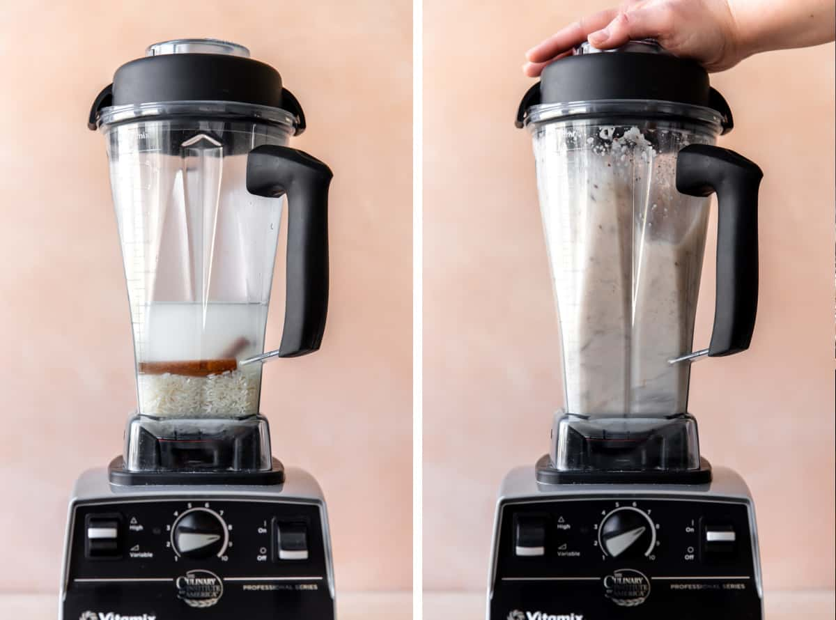 Collage showing a blender filled with water, rice and cinnamon, and then after being blended.