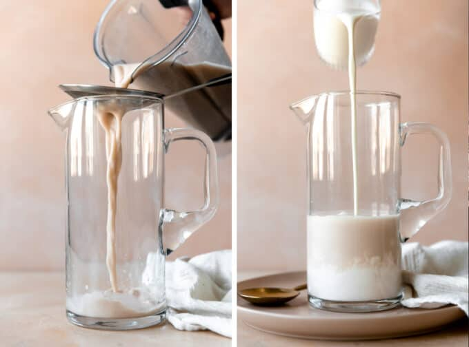 Pouring rice milk through a strainer into a glass container, then adding milk to the rice milk.