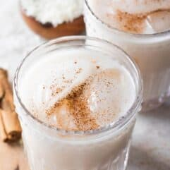 Glass filled with creamy homemade horchata.