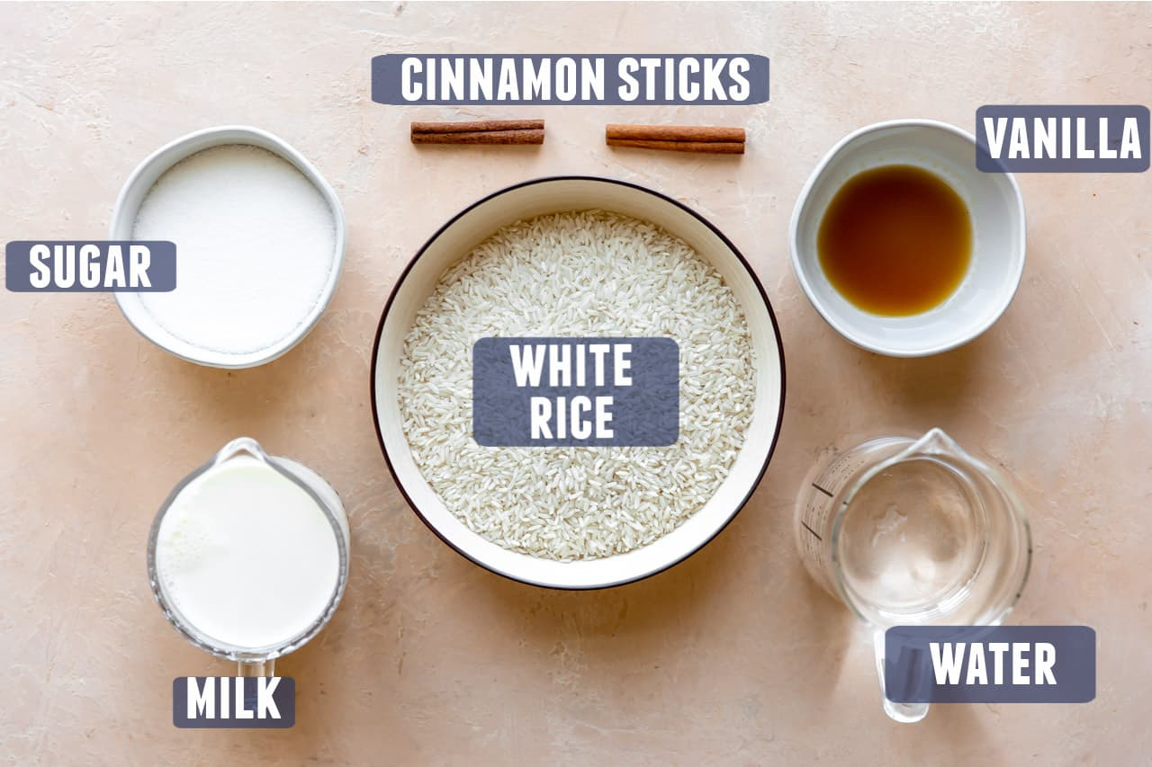 Ingredients needed to make homemade horchata laid out on the counter.