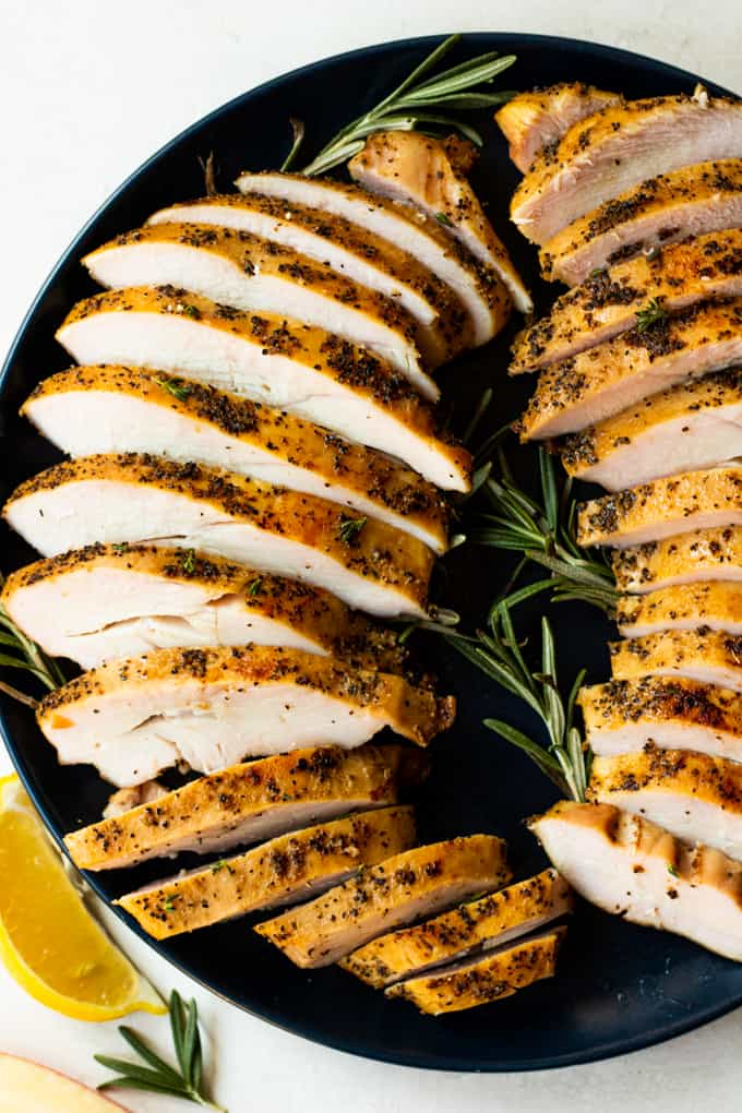Plate with two sliced turkey breasts ready to serve.