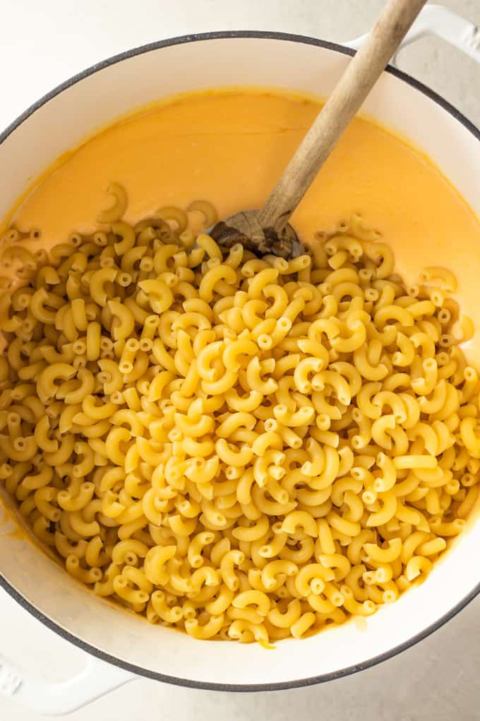 Elbow macaroni noodles added to a large dutch oven of homemade cheese sauce for macaroni and cheese.