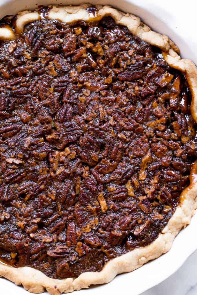 Baked pecan pie.