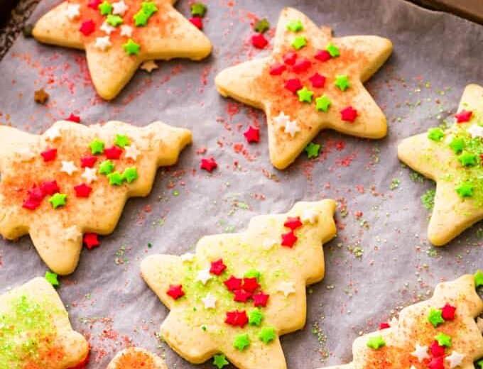 Sugar cookies on a baking sheet.
